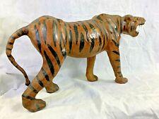 L👀K Vintage 🐅3F !! Large Leather Covered Tiger Statue 🐅