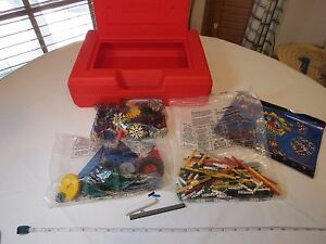 K'Nex set Challenge building pieces red storage case sealed packages tires rods