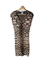 SEED Size L Cheetah Print Tan Knit V-Neck Midi Dress Stretch Shoulder Pads