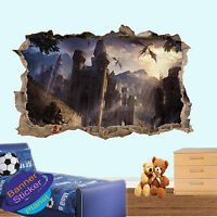 DRAGON AGE CASTLE KNIGHT 3D SMASHED WALL ART STICKER ROOM DECORATION DECAL MURAL