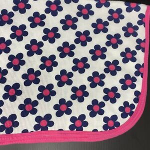 Gerber Daisy Flowers Baby Blanket White Blue Pink Waffle Thermal Cotton Swaddle