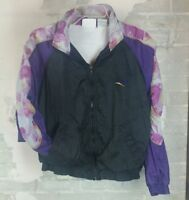 VTG 90s Reebok Full Zip Womens Black Purple Windbreaker Track Jacket M floral