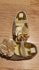 Stepping Stones Baby Girls Shoes Flats 3-6 Months Gold Sparkle Flower Mary Jane