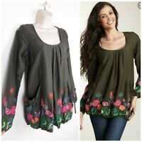 Desigual Luna Green Embroidered Long Sleeve Top/Blouse Size S Pockets Flower