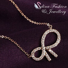 18K Rose Gold Plated Simulated Diamond Studded Exquisite Slim Bow-knot Necklace