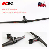 EC90 Carbon Flat/Riser Handlebar 25.4/31.8mm Stem 6/17° MTB Road Bike Bar set