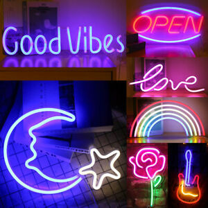 Neon Sign Light LED Wall Lights Visual Art Lamp Kids Room Home Bar Party Decor