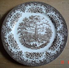English Ironstone Tableware Staffordshire Dinner Plate Brown And White