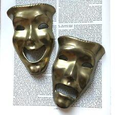 Vtg Brass Comedy Tragedy Happy Sad Masks Wall Decor Drama Theater Jester Face