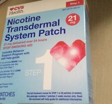 CVS Nicotine Patch Transdermal System Step 1 Stop Aid 21mg, 7 Patches Exp 2021