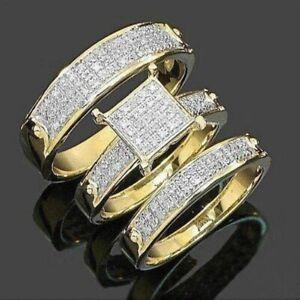 18K Yellow Gold Plated White Sapphire Ring Set Fashion Women Wedding Jewelry New