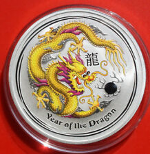 "Australien 1 Dollar 2012 Silber 1 Oz  Year of the Dragon ""Gold-Yellow"" #F 2508"