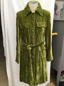 Fab Principles Lime Green Textured Silk Velvet Belted Coat Size 12
