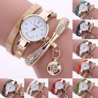 Fashion Women Ladies PU Leather Rhinestone Analog Quartz Wrist Watches  Watch DZ