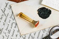 Stunning Citrine Carnelian 15ct Gold Antique Wax Seal Crown Monogram