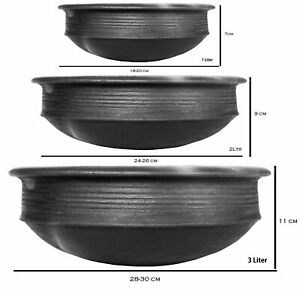 India online Pottery Earthen Kadai Clay Pots Combo for Cooking Pre-Seasoned