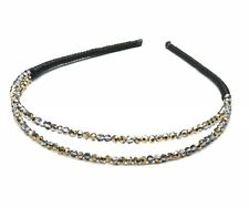 Double-row DAZZLING HAIR BAND with gold silver sparkling faceted stones NWT