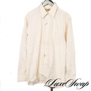 NWT Paul Stuart Made in USA Yellow Shadow Pinstripe Button Down Dress Shirt 16