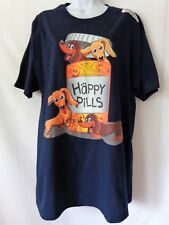 Dogs Happy Pills Navy Blue Short Sleeve Tee T-Shirt Mens Womens Size LARGE L
