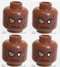 Lego Cannibal Zombie Head x 4 Reddish Brown for Minifigure