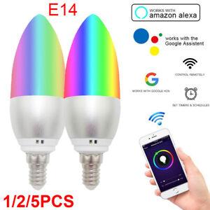 E14 Smart Bulb APP Wireless Wifi LED Light Bulb Remote for Alexa & Google Home