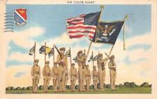 THE COLOR GUARDS FLAGS SOLDIERS GUNS MILITARY POSTCARD 1943