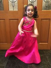 "D59 24"" Age 3 To 4 Fancy Dress Indian Western Girls Party Silk Frock Pink Gown"