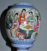 Old Chinese Eggshell Porcelain 2-Part Wedding Lamp Lantern Beauties