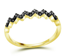 10K or Jaune Diamant Noir Bague Chevron Motif Bande .15ct