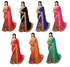 Indian Latest Wedding Party wear  Women's Embroidery Designer Silk and Net Saree