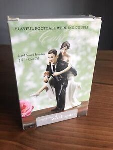 WEDDING CAKE TOPPER FIGURINE BRIDE AND GROOM HUMOR FUNNY COUPLE Football