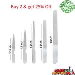 Professional Manicure Pedicure Stainless Steel Nail File for Fingernail Toenails