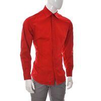 Hugo Boss Men's Business Dress Shirt Button Up Long Sleeve Poplin Red Size Large
