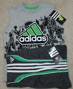 New! Boys Adidas Summer Outfit (Shirt, Shorts; Sporty; Green/Gray) - Size 4