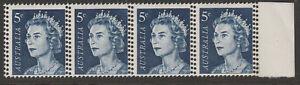 1967- 5c BLUE - STRIP OF 4 - DOUBLE PERFS - MUH