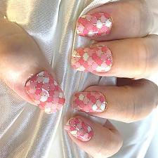 Pink Mermaid color nail polish wraps Zz20 street art strips
