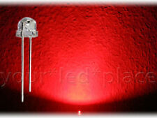 100 x LED 5mm straw hat - ROT, 90-120° Kurzkopf Flachkopf Ultrahell red