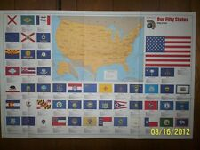 25x38 Hammond Our Fifty States Flags & Facts, Wall Poster, New