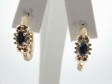 Natural Blue Sapphires Diamonds Solid 10K Yellow Gold HOOP Earrings