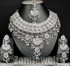 Silver Toned Indian Jodha Akbar Jewelry Bollywood White Necklace Set E52