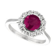 2.15 Carat Natural Ruby & Diamond Ring 14K White Gold