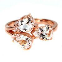 Unheated Pear Pink Morganite 8x6mm Rose Gold Plate 925 Sterling Silver Ring