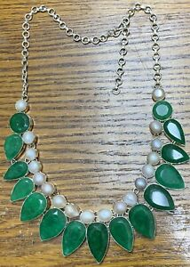 "Massive Natural Emerald & Pearl 925 Sterling Silver Necklace 24"" 148 Grams"