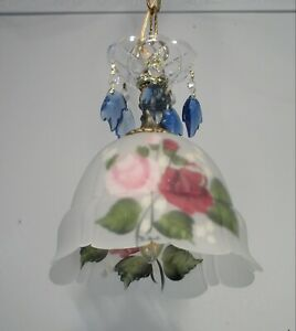 Signed Hand Painted Glass Pendant Light  Lamp Crystal Flowers Made in USA 2 avl