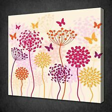 FLOWERS AND BUTTERFLIES FOLIAGE CANVAS WALL ART PICTURE PRINT READY TO HANG
