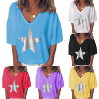 Women Summer Short Sleeve T Shirt Loose Tops Blouse Casual Graphic Tee Plus Size