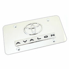 Toyota Logo + Avalon Name Badge On Polished Stainless Steel License Plate