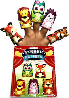 5 x ANIMAL FINGER PUPPETS OWL HEDGEHOG FOX TOY BIRTHDAY GIFT PARTY BAG FILLER