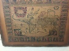 Vintage Wooden Ancient World Map In Latin Replica