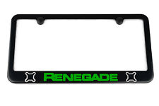 Jeep Renegade License Plate Frame - Satin Black - Silver & Green Engraved Logos